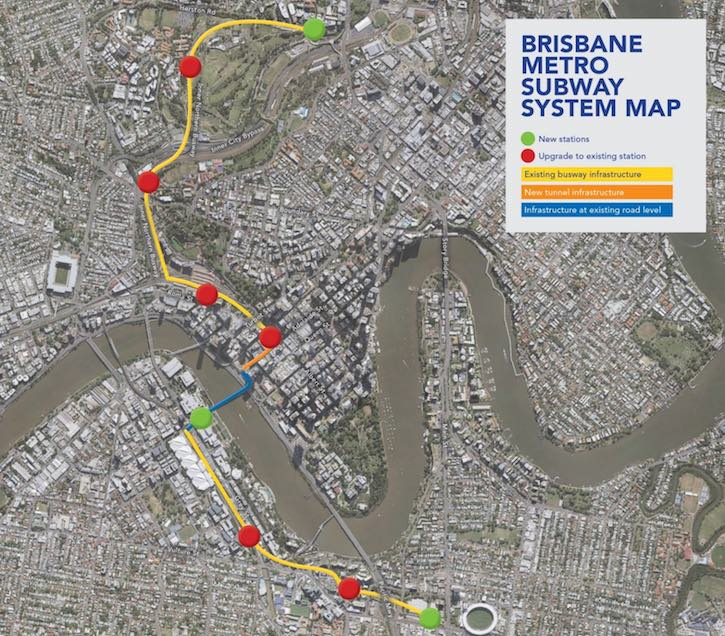 Brisbane Metro map from Brisbane City Council